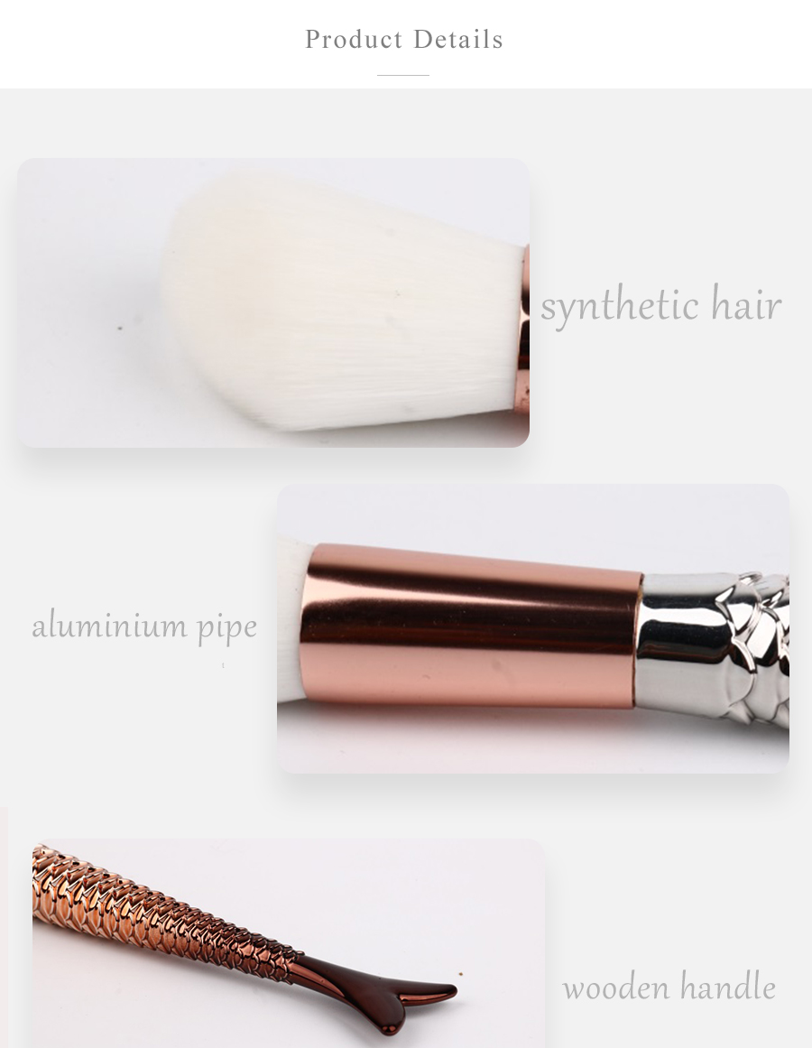 11PCS Golden Mermaid Tail Makeup Brushes Set