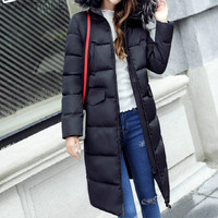 2018 Spring Korean Long Coat Fur Collar Silk Jacket Plus Size Jacket Down Parkas Fur Jacket