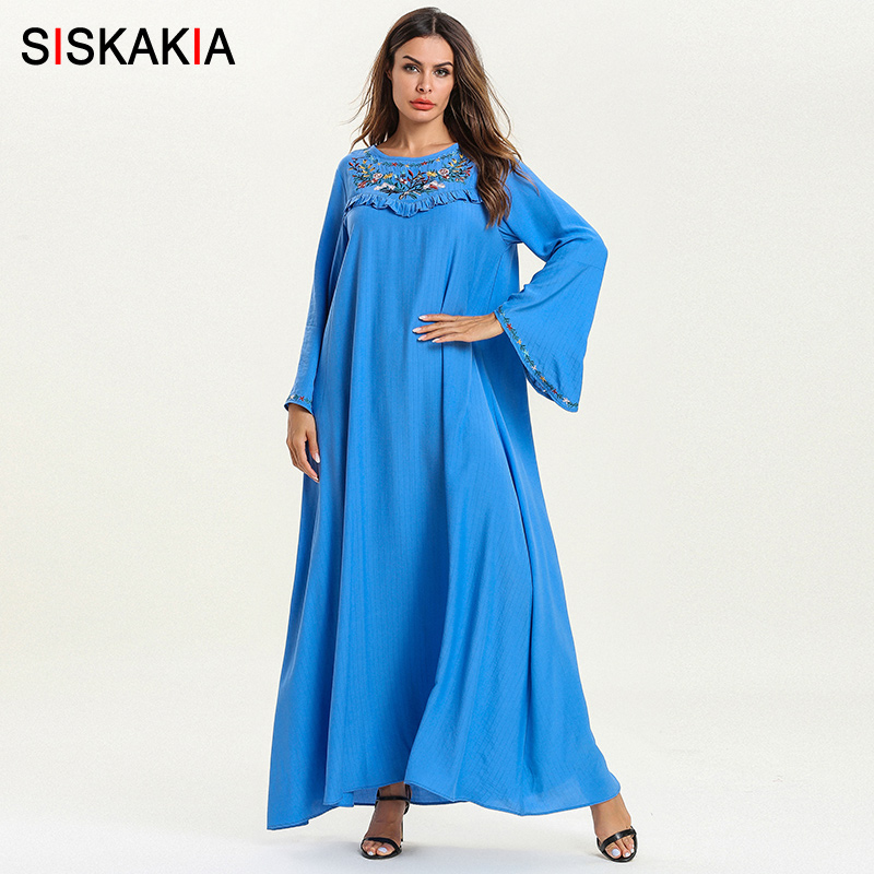 Siskakia Floral Embroidery Dressing Gowns for Women Spring Summer Casual Muslim Dresses Blue Loose Plus Size