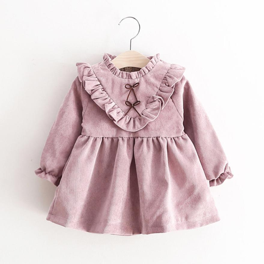 Outfits Princess-Dress Long-Sleeve Toddler Autumn Sweet-Style Baby-Girls Preppy Cotton