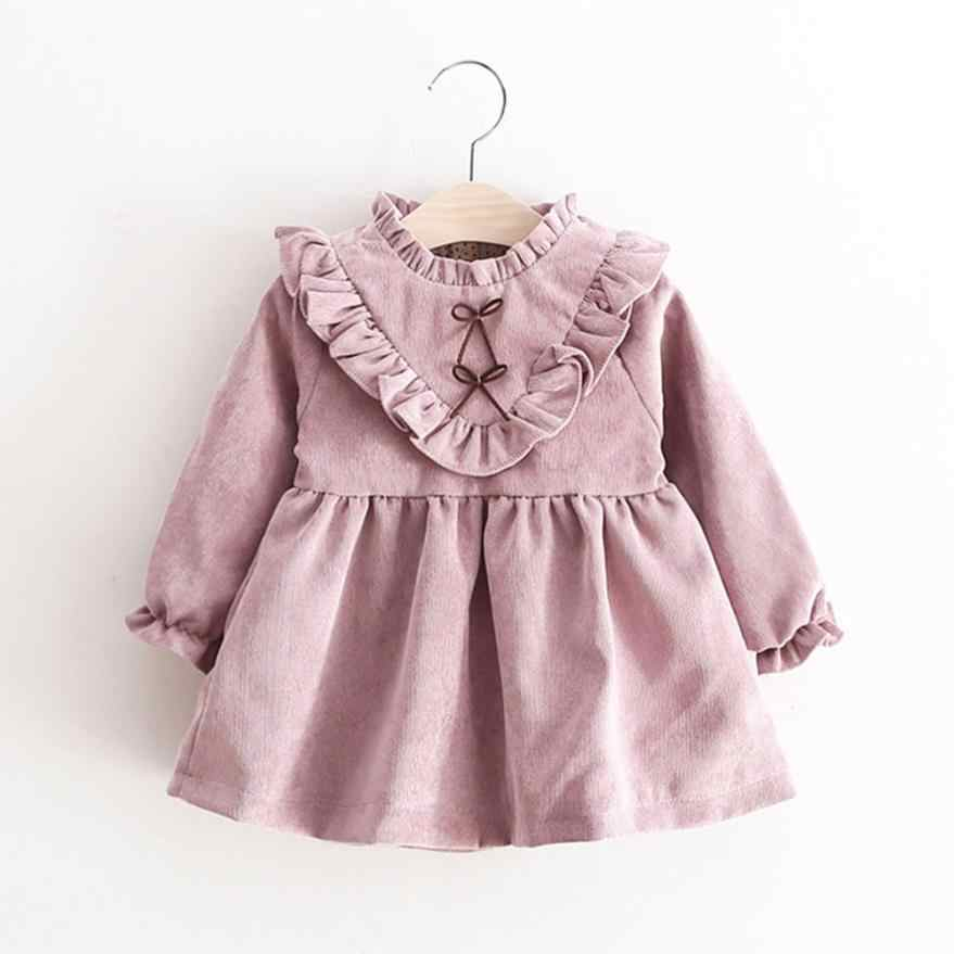 Lovely Toddler Kids Baby Girls Autumn Long Sleeve Princess Dress Outfits Clothes super cute cotton preppy  sweet style July31