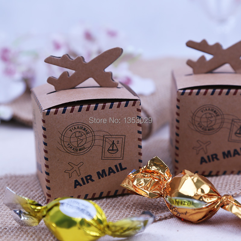 100pcs Rustic Wedding Decor Air Mail Kraft Paper Candy Box Travel Themed Wedding Decoration Mariage Vintage Chic Party Supplies