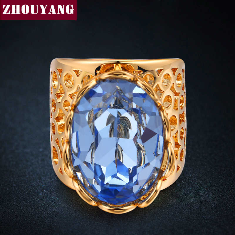 Luxury Gold-Color Hollow-OUT Big Blue คริสตัลแหวนแฟชั่น Cubic Zirconia เครื่องประดับสำหรับสตรีและผู้ชาย ZYR477