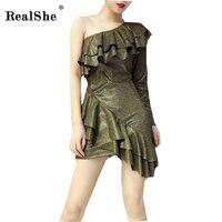 RealShe 2018 Mùa Đông Mùa Thu Bên Clube Phụ Nữ Bodycon Dresses Sexy New Arrival Một Vai stretchy Tay Áo