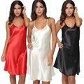Lencería Sexy Satin Solid Chemise ropa de Noche de Las Mujeres Mini Vestido de La Manera Vestido de Mujer Cuello En V Profundo Camisón Loungewear Pijamas