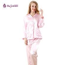 Yuzihua 2017 топы пижамы шелковый атлас ночное розовый белый цвет пижамы женские летние пижамы 2 шт./компл. Ml XL 35019