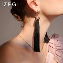 ZEGL retro long earrings female temperament tassel ear clips black pierced cold wind dark