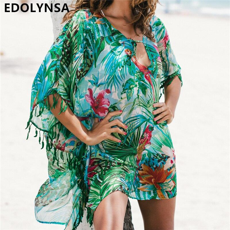 2018 tunika für Strand badeanzug abdeckung ups Chiffon Strand Kleid Frauen Bademode Bikini cover up Saida de Praia # q523