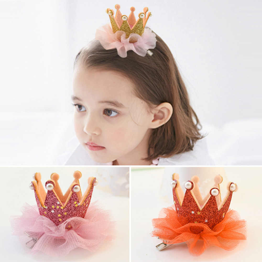 bac05ee7e0f19 1 PC Lovely Good Quality Children Cute Crown Princess Lace Hair Clips Pearl  Shiny Star Hairpins