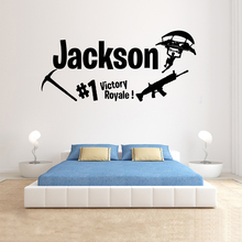 Gamer Personalised wall decal Victory Royale Game Controller video game decals Customized For Kids Bedroom Vinyl Art A1-020