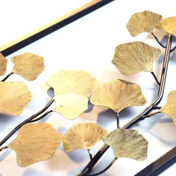 European Creative Wall Wrought Iron Ginkgo Biloba Decoration Crafts Wall Hanging Mural Home Livingroom Background Wall Ornament