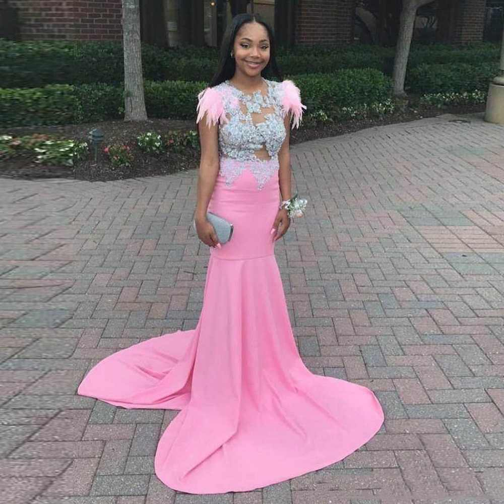081eab03 Aso Ebi African Pink Mermaid Prom Gowns Appliques Lace Pretty Formal Party  Dresses Gonna Feather Evening
