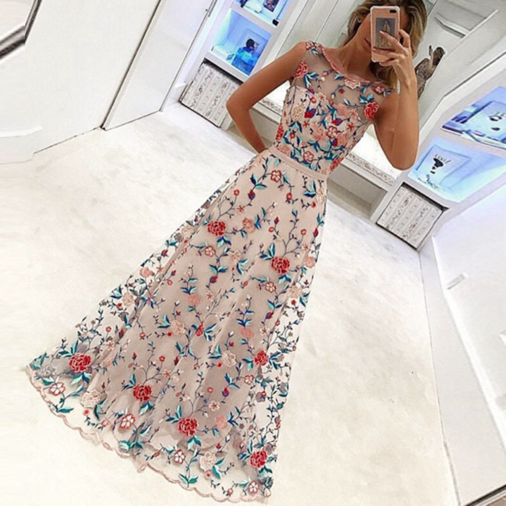 Womens Floral Embroidery Dress Summer 2019 Lace O-Neck Sleeveless Dresses Ladies Holiday Maxi Dress Robe Femme