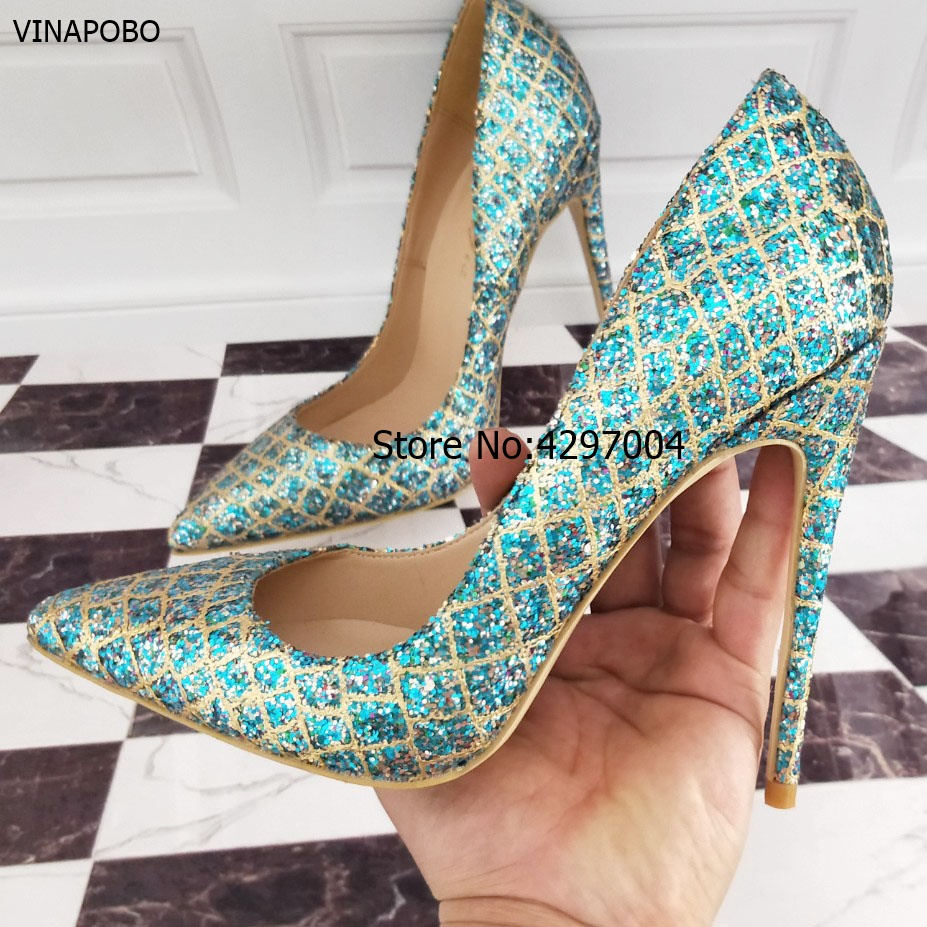 2018 New Pointed Toe Wedding Shoes Women Blue Gold Grid Bling Thin High Heels 8cm 10cm