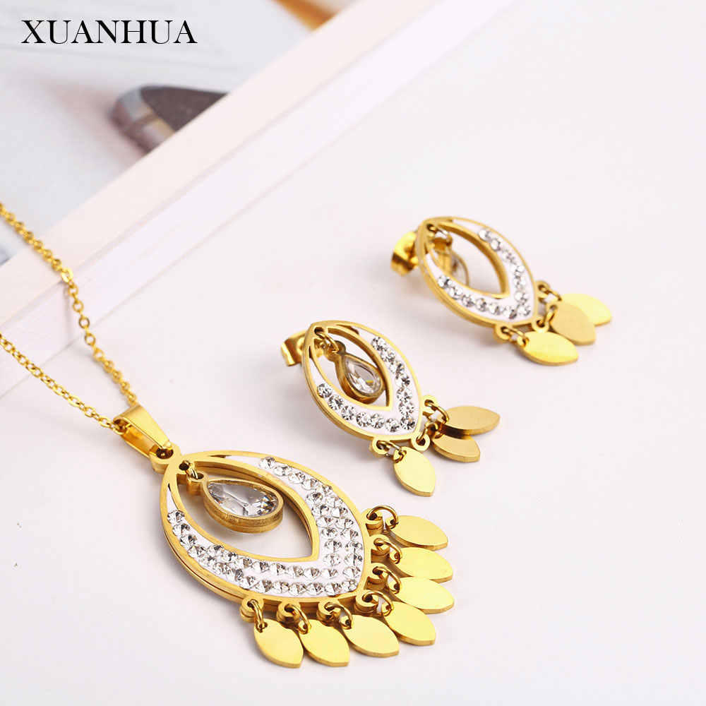 XUANHUA stainless steel jewelry woman sets Necklace earrings set fashion fine jewelry accessories gifts for women bohemian