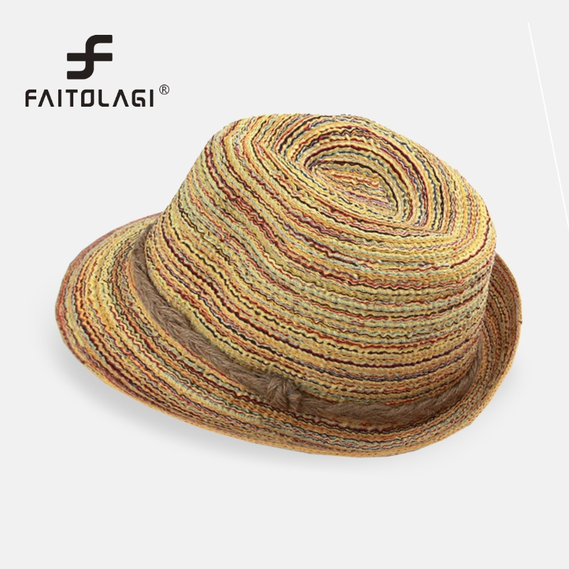New Summer Sun Hats Women Girls Sombreros Women colorful straw sunhats  beach hat sun hats for women  sombreros mujer verano