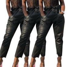 32551115c Women PU Leather Pants Hot Sexy Ladies Drawstring High Waist Pencil Pants  Casual Womens Leggings Fitness