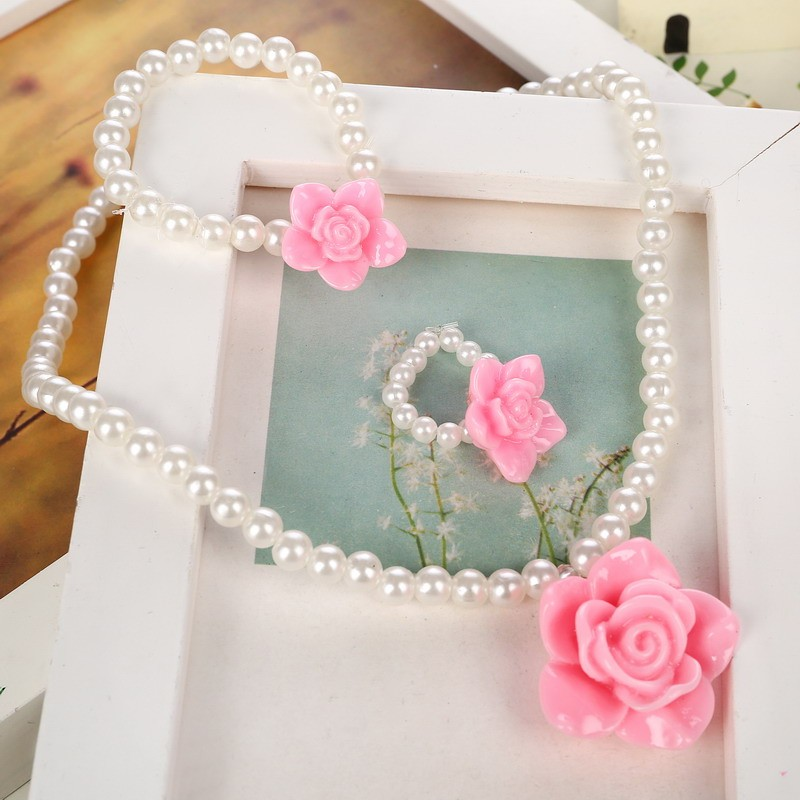 Children Cute Simulated Pearl Chain Pendant Necklace/Ring/Bracelet Rose Flower Charm Bracelet Kids Lovely Jewelry Sets 2