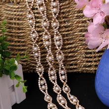 Pearl Crystal Chain Sewing on Costumes 1.3 cm 1 yard High Quality Rhinestone Trims for DIY Crafts Decor Handmade Silver Gold