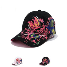 Butterfly Embroidery Cap Summer Lady Baseball Cap Korean Outdoor Hip-Hop Sun  Hat Duck Tongue b023f012c281
