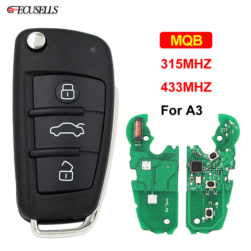 Modified MQB Semi Intelligent Remote Key 3 Button Folding Flip Smart Car Key Fob 315Mhz Or 433Mhz A6L Use For Audi A3
