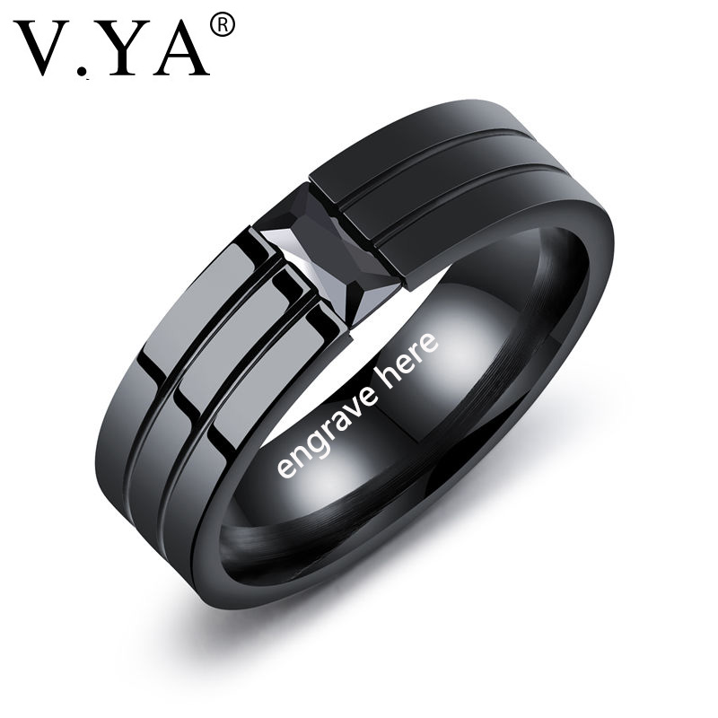 V.YA 2018 New Black Men Rings 100% Titanium Steel Men's Personality Engrave Jewelry Wedding Bands Fashion Classic Boyfriend Gift