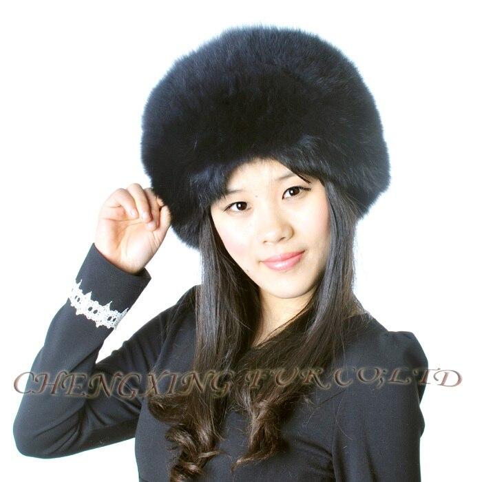 CX-C-95B Высококачественная модная шапка из натурального Лисьего меха с хвостами - Цвет: black and blue