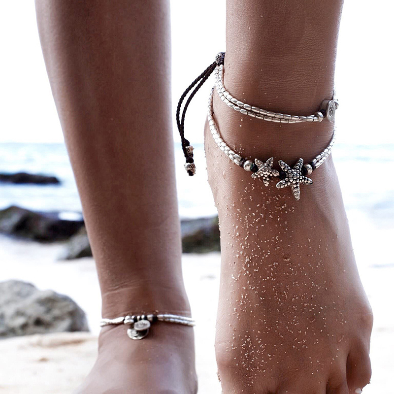 2017 New Fashion Retro Bohemia Round Rune Starfish Anklet Jewell Beach Fets Jewel Pull Beads Beat Bobo Anklet For Women