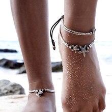 2017 New Fashion Retro Bohemia Round Rune Starfish Anklet Beach Feet Jewelry Simple Pull Beads Bobo Anklet Bracelet For Women