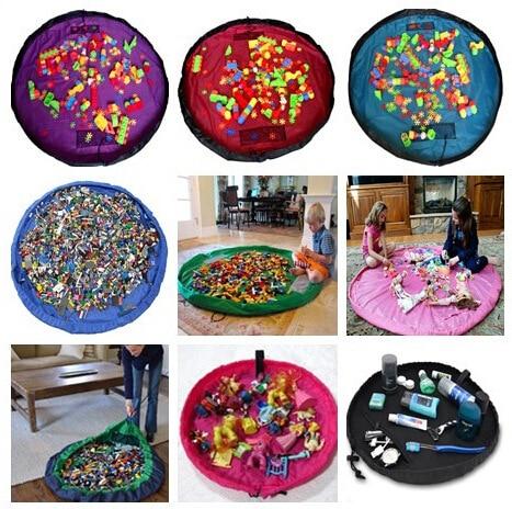 Baby Carpet Play Mat Building Block Plush Stuffed Toys Storage Bag Multifunctional Kids Playing Game Blanket Rug Toy Organizer