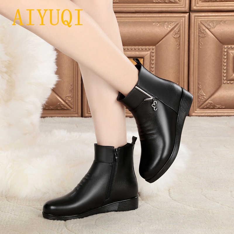 AIYUQI kadın düz çizmeler kış 2019 yeni hakiki deri bayan kar botları, büyük boy 41 42 43 kalın yün anne bot ayakkabı