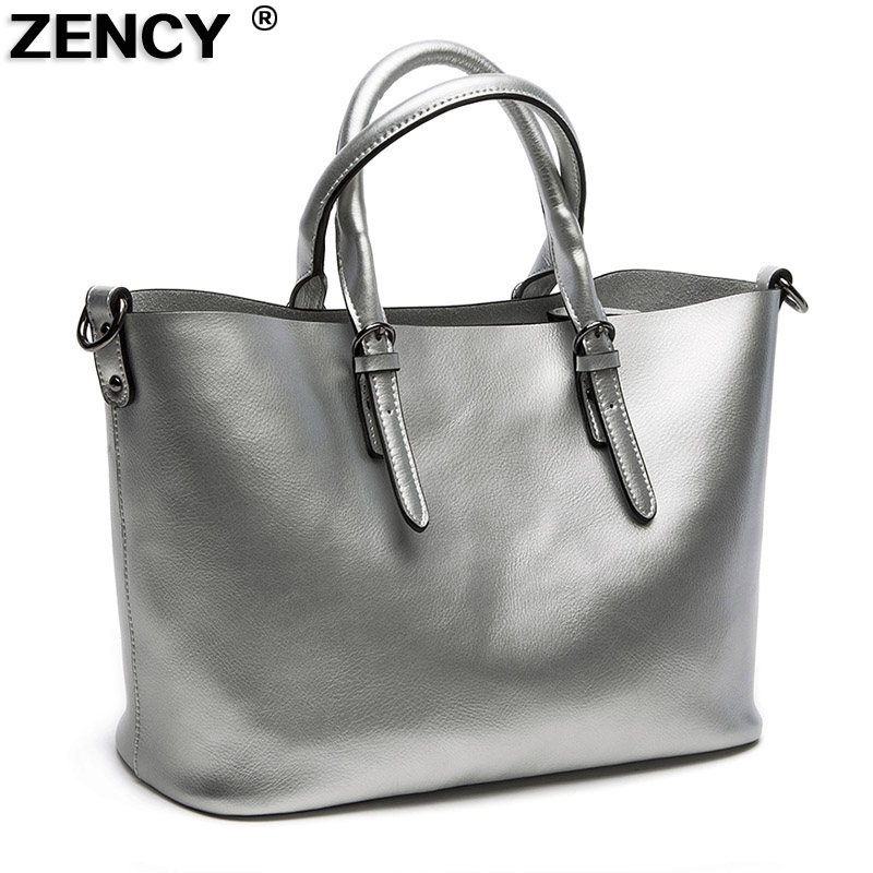 ZENCY Fashion Pearl Leather Second Layer Cowhide Leather Women Genuine Leather Handbag Shoulder Tote Shopping Bags Real Leather zency fashion shopping style handbags women bucket genuine second layer cow leather shoulder messenger cowhide tote bags
