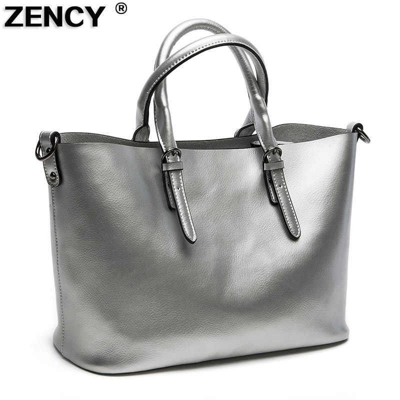 3991319565d0 ZENCY модные жемчужные кожа второй Слои натуральной кожи Для женщин из натуральной  кожи сумка Tote Сумки
