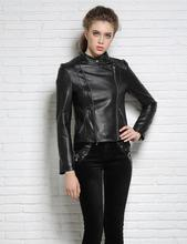 Spring stand collar black motorcycle genuine leather jacket womens sheepskin jackets and coats slim short clothes star style 2XL