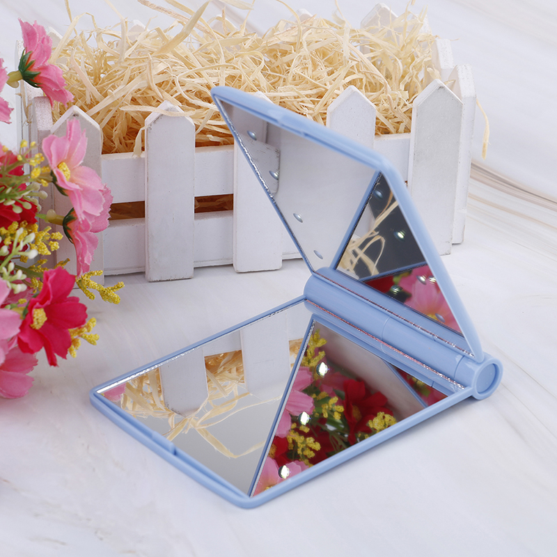 Schönheit & Gesundheit Angemessen Frauen Make-up Spiegel 8 Led-leuchten Lampen Kosmetische Folding Tragbaren Compact Tasche Hand Spiegel Make-up-tool Letzter Stil Haut Pflege Werkzeuge