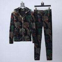 Новый Для мужчин s дизайнерский спортивный костюм Для мужчин костюмы с брюками тренажерные залы набор мужской осенью из двух частей Костюмы