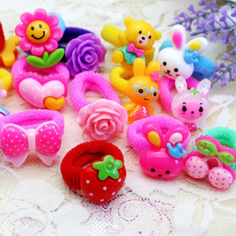 10-pcs-colorful-child-kids-hair-holders-cute-cotton-rubber-with-carton-flower-animal-pendent-hair-band-elastics-accessories-girl
