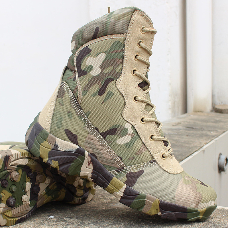 Camouflage High Tube Military Tactical Desert Boots Men Outdoor Jungle Climbing Hunting Breathable Army Fans Combat Sports Shoes-in Hiking Shoes from Sports & Entertainment    1