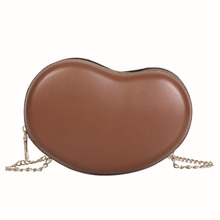лучшая цена Fashion Personality PU Heart-shaped Shoulder Bag Female Solid Color Chocolate Brown Black Shoulder Messenger Bag for Young Girls