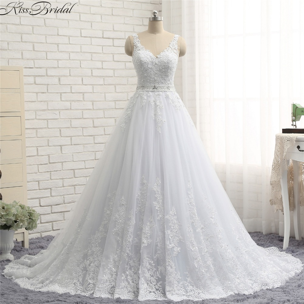 Romantic Backless Wedding Dresses Summer Style V Neck