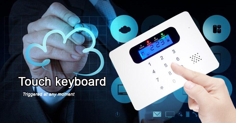 YobangSecurity Wireless Wired GSM Alarm System Touch keypad Display Security System Pir Motion Smoke Detector Door Window Sensor