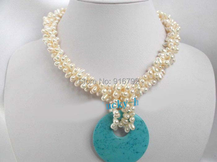 free P&P >>AAA 3strds white pearls stone pendant necklace