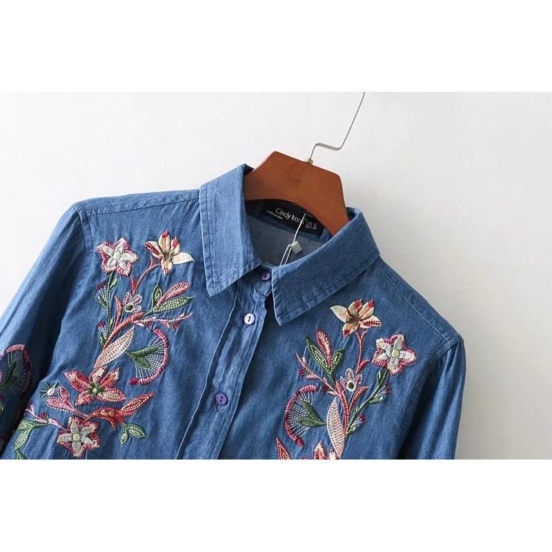 Broderie X840 Haute Qualité Chemises Lâche Aboorun Coton Fleur Blue Denim Femmes dZYznqTw