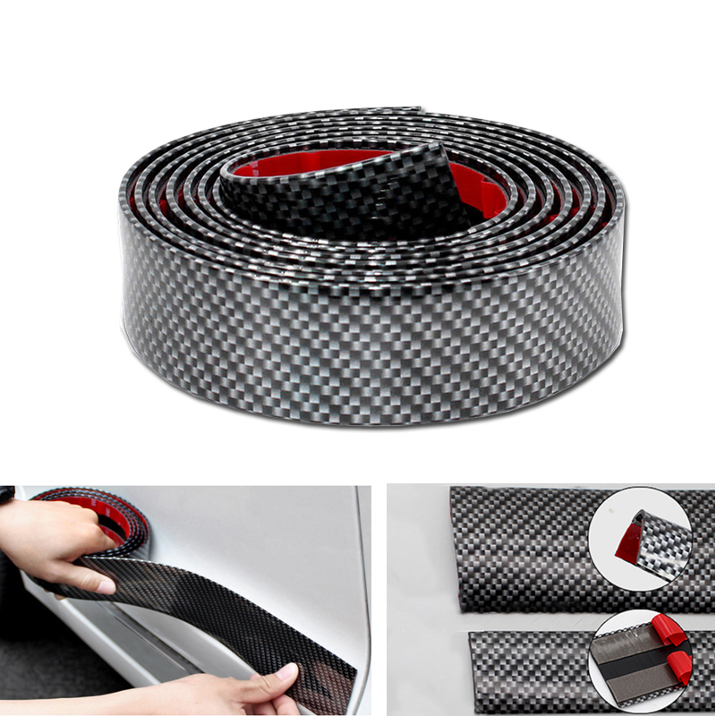 Car Sticker Rubber Styling 5D Carbon Fiber Door Sill Protector Cover Bumper Sticker Auto Accessories For Toyota BMW KIA Ford etc 4 x pieces carbon fiber car side door bumper edge protector trim car styling for ford fiesta st