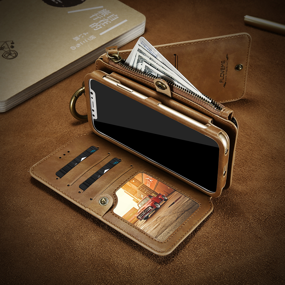 FLOVEME Luxury Retro Wallet Phone Case For iPhone 7 7 Plus XS MAX XR Leather Handbag FLOVEME Luxury Retro Wallet Phone Case For iPhone 7 7 Plus XS MAX XR Leather Handbag Bag Cover for iPhone X 7 8 6s 5S Case shell