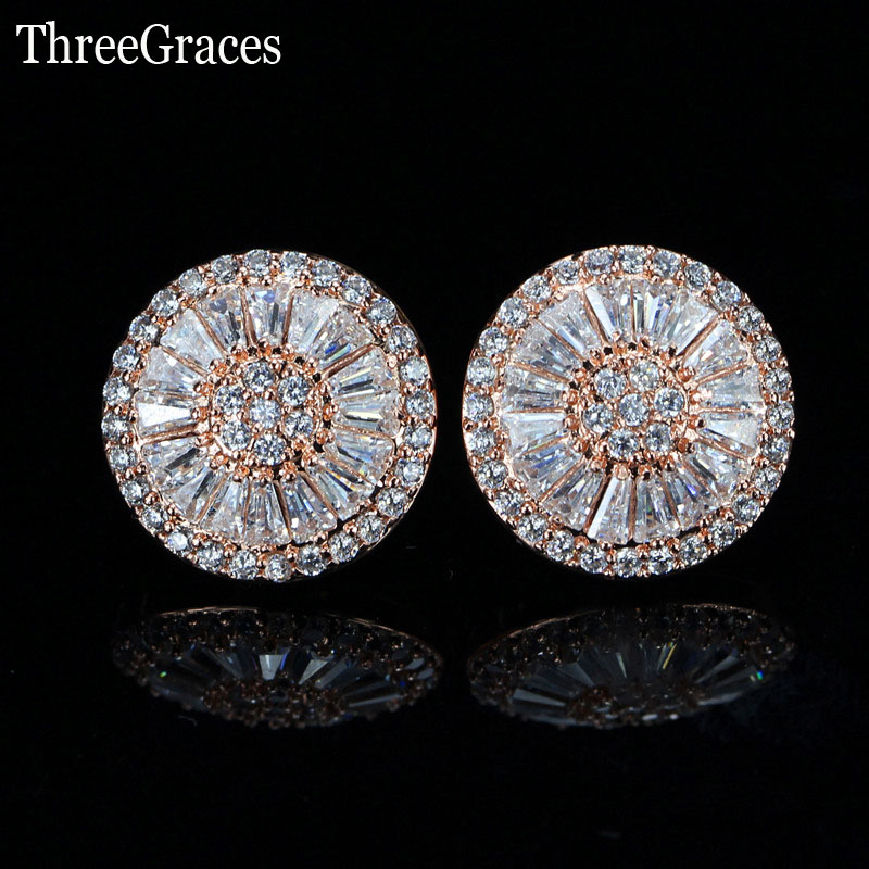 ThreeGraces Gorgeous CZ Stone Fashion Jewelry Pave Setting Cubic Zirconia Rose Gold Color Big Stud Earrings For Women Gift ER307 new arrival gold color ring bijoux 14mm width big pave setting cz cross x ring for women trendy crystal jewelry wholesale gift