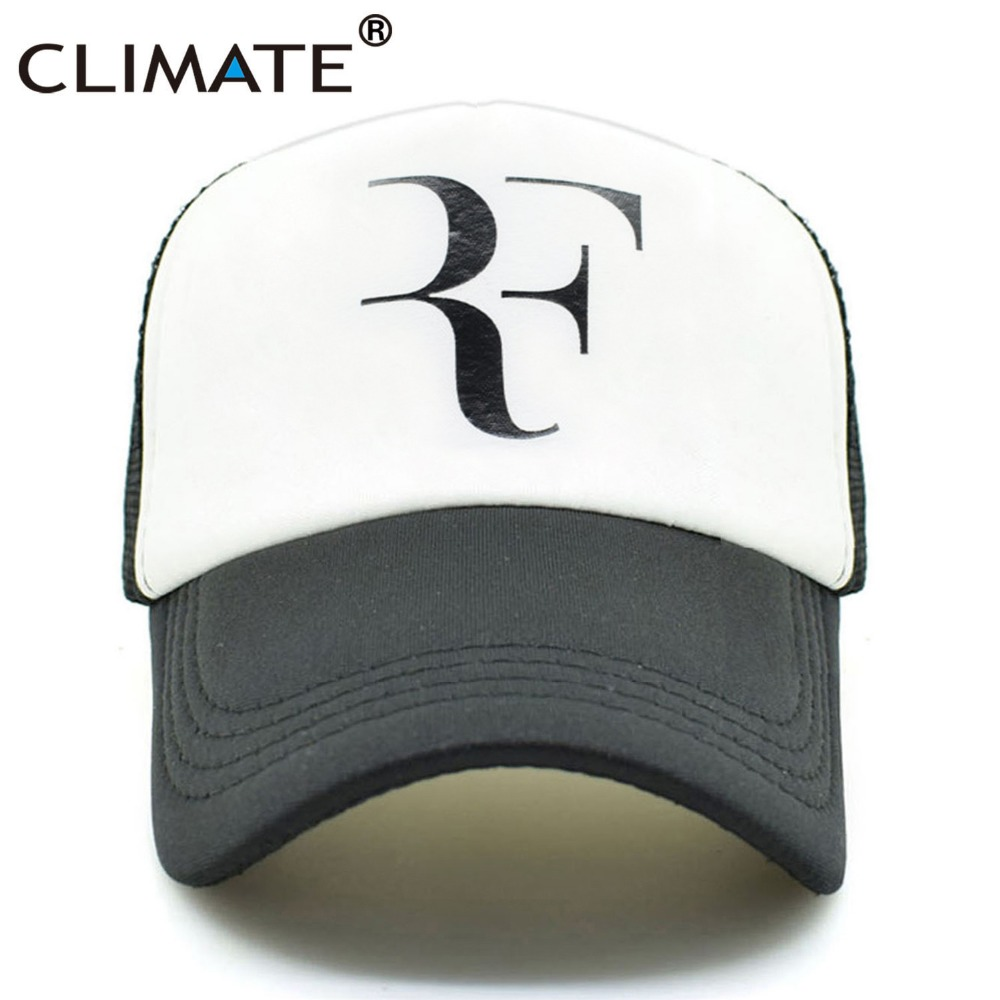 CLIMATE Men Summer Cool Mesh Caps Roger Federer RF Tennis Fans Caps Cool Summer Baseball Mesh Net Trucker Tennis Sport Caps Hat climate men summer black mesh caps star wars bounty hunter fans cool summer baseball cap black net trucker caps hat for men