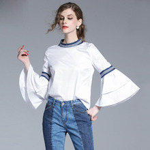 2017 Runway Fashion Women Blouses Girls Shirt Tops White Ladies Clothing Slim Ruffle Trumpet Casual Boho