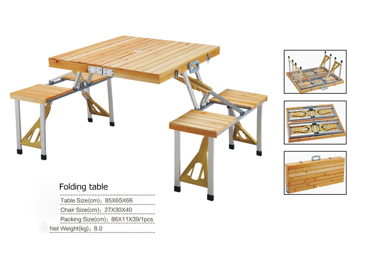 Outdoor Furniture Folding Table Sets Portable Wood Tables ...