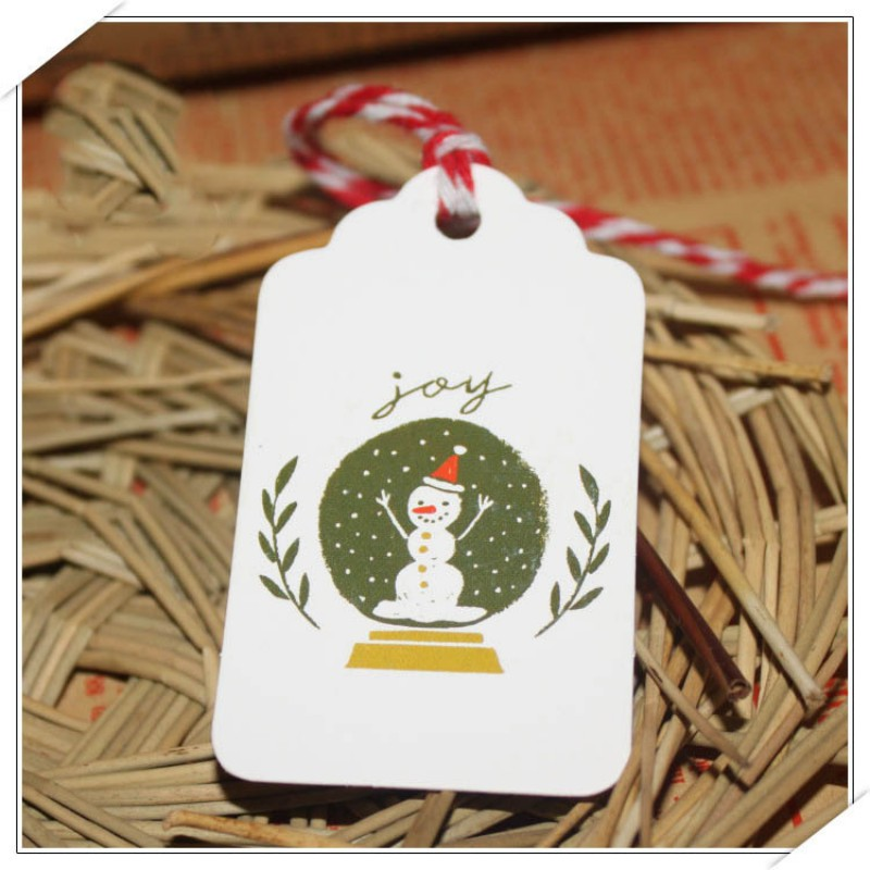 Merry Christmas Tag Listed Festival Creative Painted Bookmark Tag Small Card Optional String DIY Craft Label Luggage Party Decor